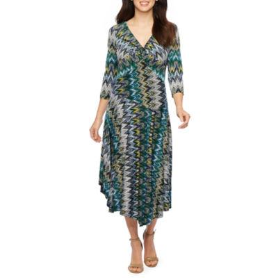 Rabbit Rabbit Rabbit Design 3/4 Sleeve Chevron Fit & Flare Dress