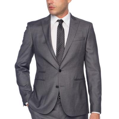 JF J.Ferrar Gray Sharkskin Super Slim Fit Stretch Suit Jacket-Slim