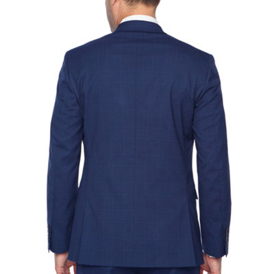 JF J.Ferrar Bright Blue Plaid Slim Fit Stretch Suit Jacket
