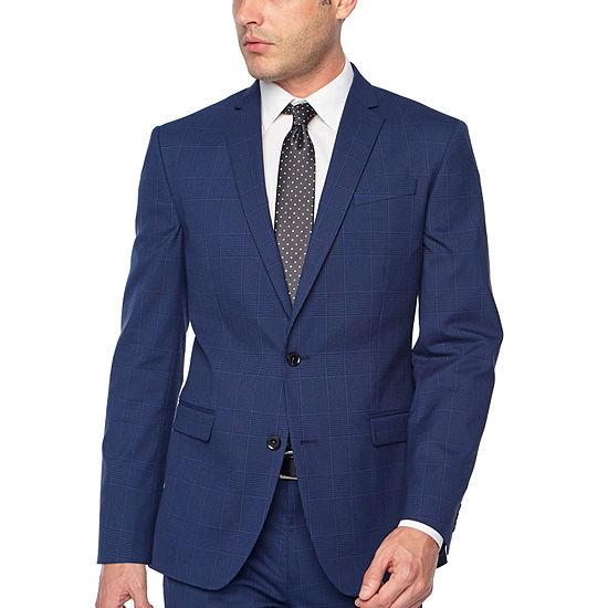 JF J.Ferrar Bright Blue Mens Plaid Stretch Slim Fit Suit Jacket