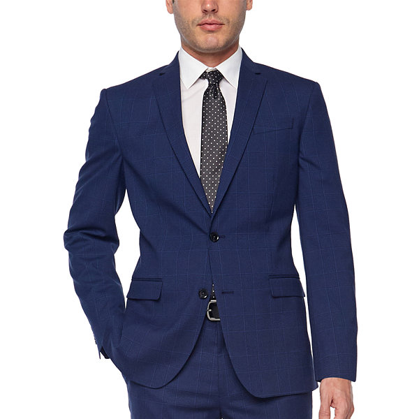 JF J.Ferrar Bright Blue Mens Plaid Stretch Slim Fit Suit Jacket