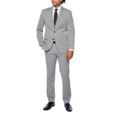 JF J. Ferrar Light Gray Texture Slim Fit Stretch Suit Separates