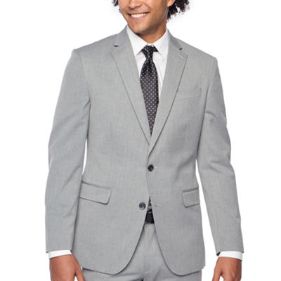 JF J.Ferrar Light Gray Texture Slim Fit Stretch Suit Jacket