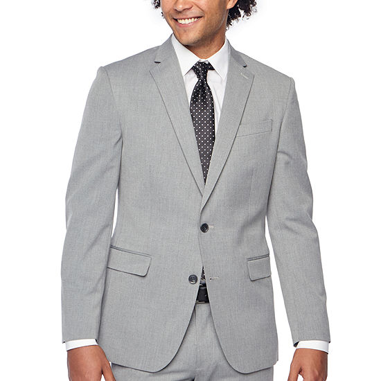 JF J.Ferrar Light Gray Texture Mens Stretch Slim Fit Suit Jacket