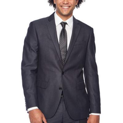 JF J.Ferrar Gray Sheen Fine Striped Slim Fit Stretch Suit Jacket