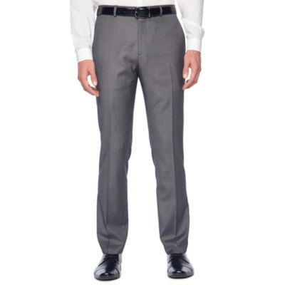 JF J.Ferrar Gray Stretch Sharkskin Super Slim Fit Stretch Suit Pants - Slim