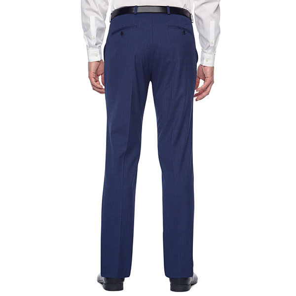 JF J.Ferrar Bright Blue Mens Plaid Stretch Slim Fit Suit Pants