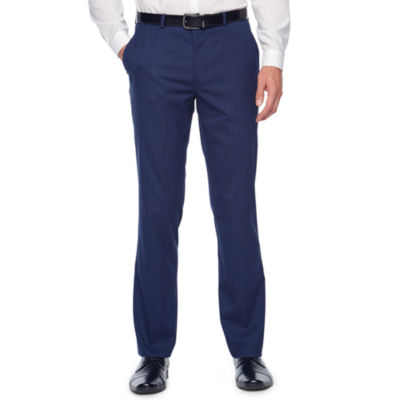 JF J.Ferrar Bright Blue Plaid Slim Fit Stretch Suit Pants