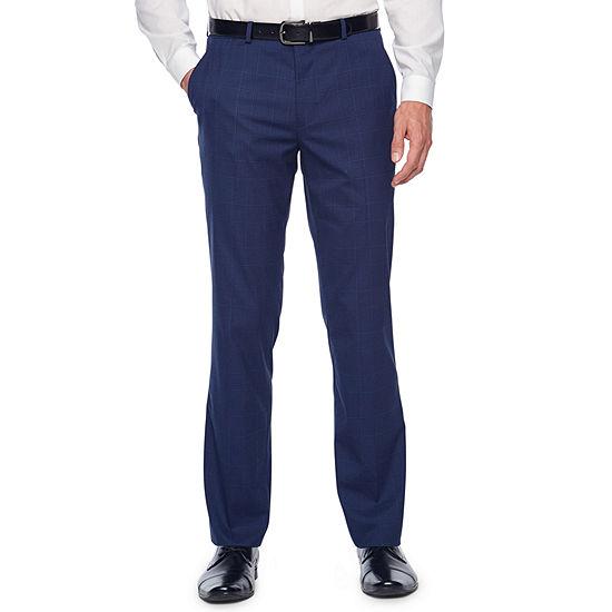 JF J.Ferrar Bright Blue Mens Plaid Stretch Slim Fit Suit Pants