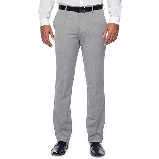 JF J.Ferrar Light Gray Texture Mens Stretch Slim Fit Suit Pants