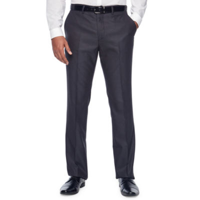 JF J.Ferrar Gray Sheen Fine Stripe Slim Fit Stretch Suit Pants
