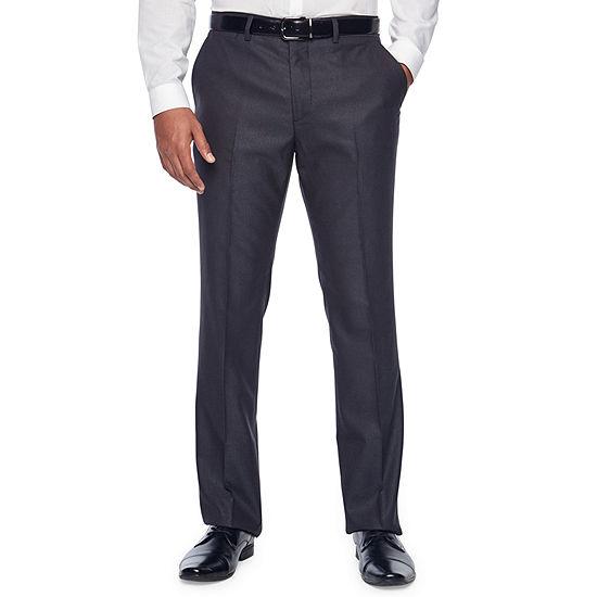JF J.Ferrar Gray Sheen Fine Striped Slim Fit Stretch Suit Pants