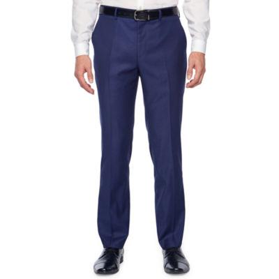 JF J.Ferrar Jf Bright Blue Sheen Skin Stretch Suit Pant Slim Fit Stretch Suit Pants