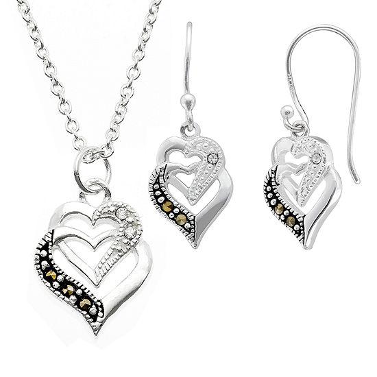 Sparkle Allure Genuine Multi Color Pure Silver Over Brass Heart 2-pc. Jewelry Set