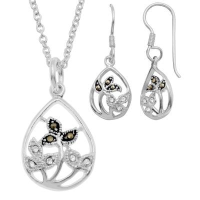 Sparkle Allure Genuine Multi Color Pure Silver Over Brass Flower 2-pc. Jewelry Set