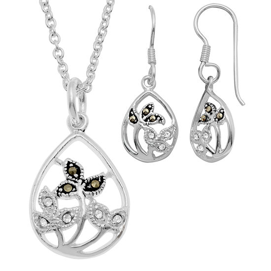 Sparkle Allure Genuine Multi Color Pure Silver Over Brass Flower 2 Pc Jewelry Set