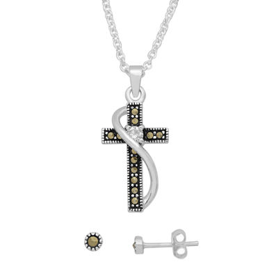 Sparkle Allure Genuine Multi Color Pure Silver Over Brass Cross 2-pc. Jewelry Set