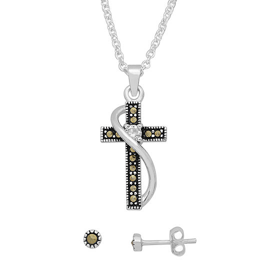 Sparkle Allure 2-pc. Multi Color Pure Silver Over Brass Cross Jewelry Set