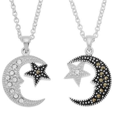 Sparkle Allure Womens Genuine Multi Color Marcasite Pure Silver Over Brass Pendant Necklace