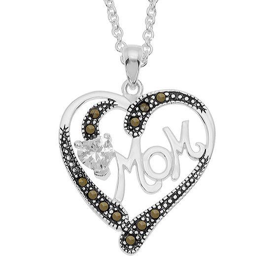 Sparkle Allure Multi Color Marcasite Pure Silver Over Brass 18 Inch Cable Heart Pendant Necklace