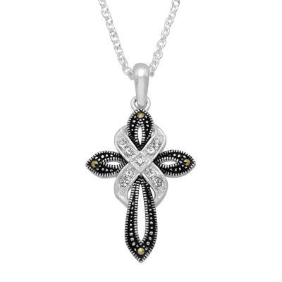 Sparkle Allure Womens Genuine Multi Color Marcasite Pure Silver Over Brass Cross Pendant Necklace