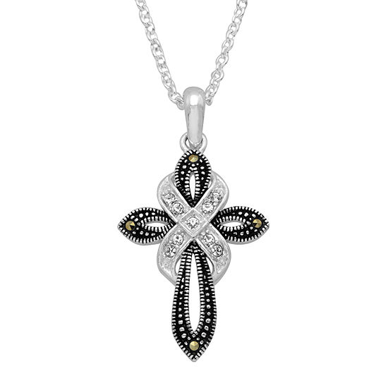 Sparkle Allure Womens Multi Color Marcasite Pure Silver Over Brass Cross Pendant Necklace