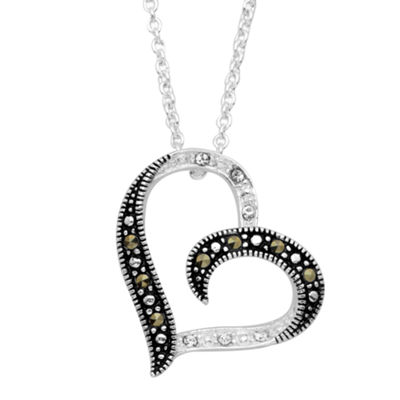 Sparkle Allure Womens Genuine Multi Color Marcasite Pure Silver Over Brass Heart Pendant Necklace