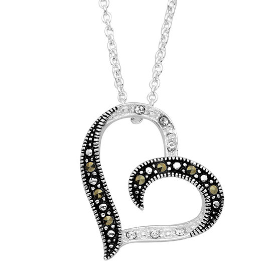 Sparkle Allure Womens Multi Color Marcasite Pure Silver Over Brass Heart Pendant Necklace