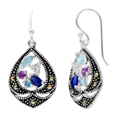 Sparkle Allure Genuine Multi Color Pure Silver Over Brass Drop Earrings