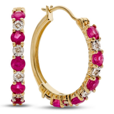 Diamond Accent Lead Glass-Filled Red Ruby 10K Gold 16.5mm Hoop Earrings