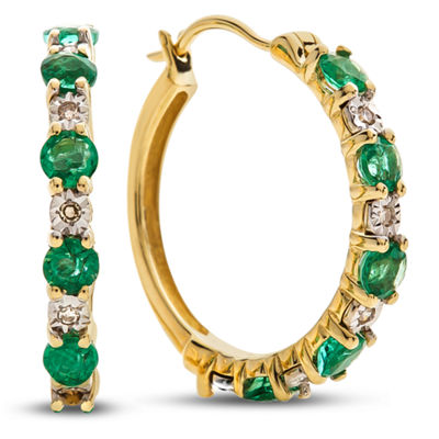 Diamond Accent Genuine Green Emerald 10K Gold 16.5mm Hoop Earrings