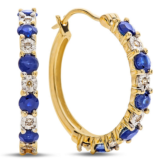 Diamond Accent Genuine Blue Sapphire 10K Gold 16.5mm Hoop Earrings