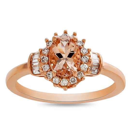 Womens 1/4 CT. T.W. Genuine Pink Morganite 10K Rose Gold Cocktail Ring