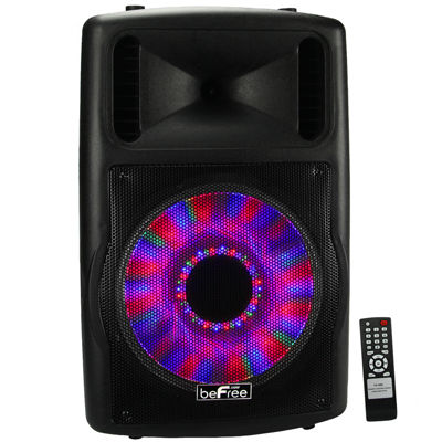 "beFree Sound 12"" Bluetooth Portable Speaker with Sound/Volume Reactive Lights USB and SD Inputs"