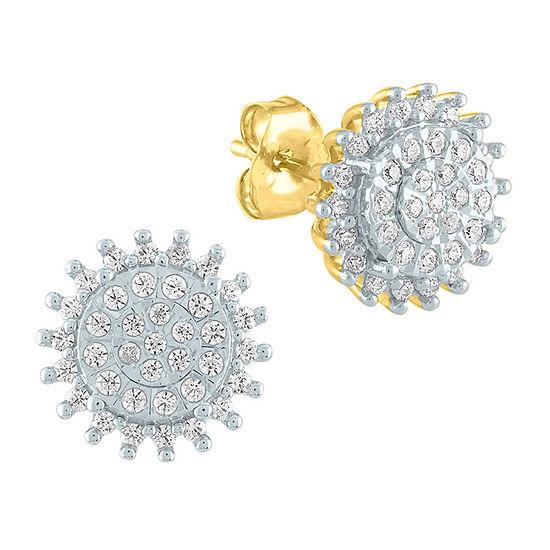 1/3 CT. T.W. Genuine Diamond 10K Gold Stud Earrings