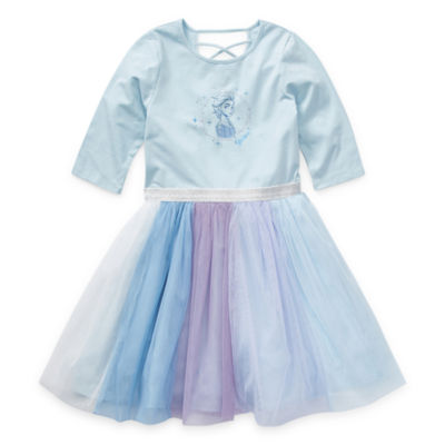 Disney 3/4 Sleeve Frozen 2 Tutu Dress - Preschool / Big Kid Girls