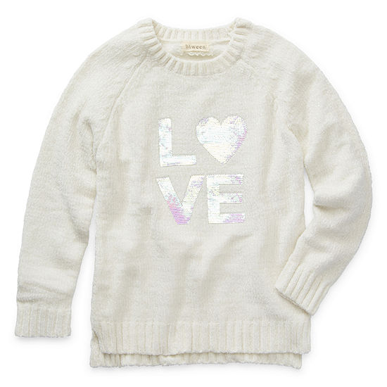 Btween Big Girls Round Neck Long Sleeve Pullover Sweater