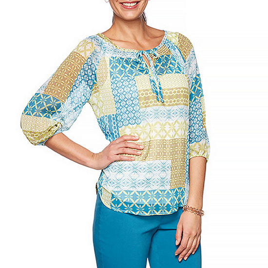 Hearts Of Palm Global Soul Womens Scoop Neck 3/4 Sleeve Peasant Top