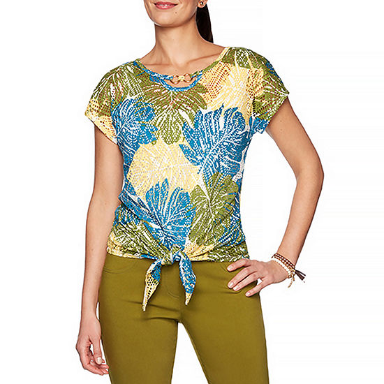 Hearts Of Palm Global Soul-Womens Keyhole Neck Short Sleeve T-Shirt