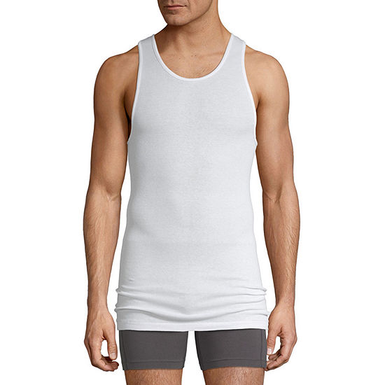 Stafford Cotton Mens 4 Pack Sleeveless Scoop Neck T-Shirt