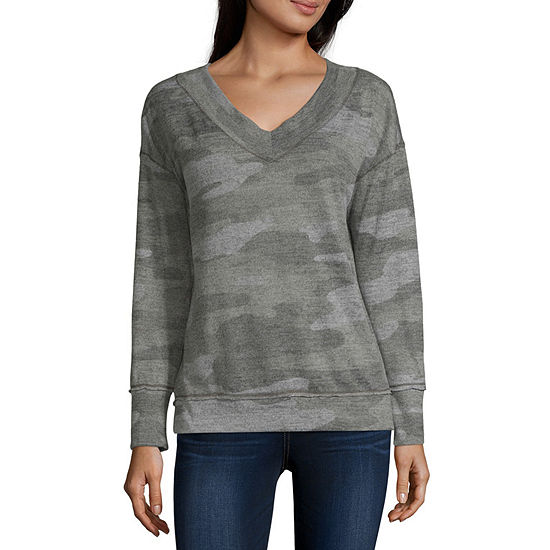 Rewind Juniors Womens V Neck Long Sleeve Sweatshirt