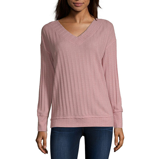 Rewind Womens V Neck Long Sleeve Sweatshirt