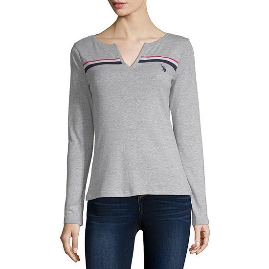 Us Polo Assn.-Womens Y Neck Long Sleeve T-Shirt Juniors