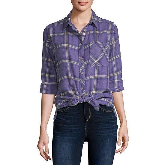 Arizona-Juniors Womens Long Sleeve Regular Fit Button-Front Shirt