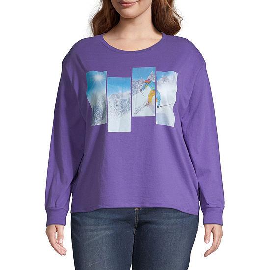 Arizona Juniors Plus-Womens Round Neck Long Sleeve T-Shirt