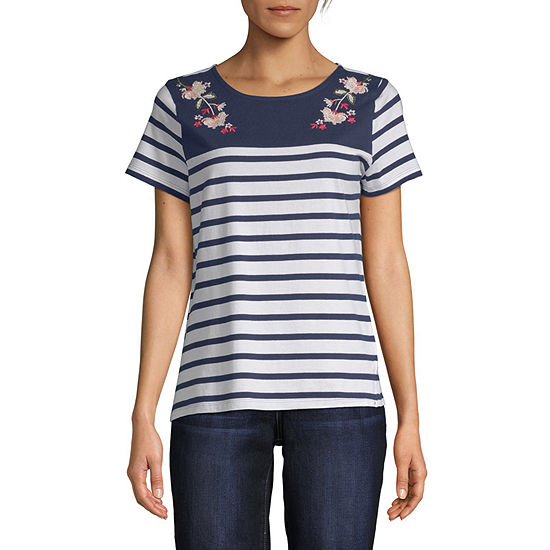 St. John's Bay-Womens Round Neck Short Sleeve T-Shirt