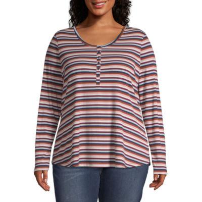a.n.a-Womens Long Sleeve Henley T-Shirt Plus