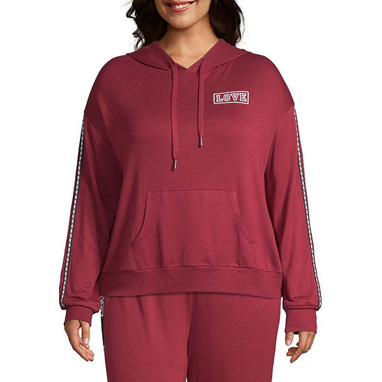 Inspired Hearts Juniors Plus Womens Hooded Neck Long Sleeve Quarter-Zip Pullover