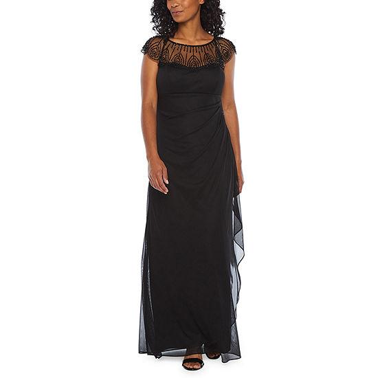 DJ Jaz Short Sleeve Embellished Evening Gown-Petite