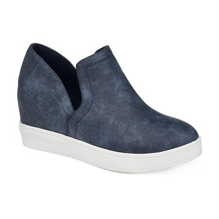 Journee Collections Womens Cardi Sneaker Wedge, 11 Medium, Blue